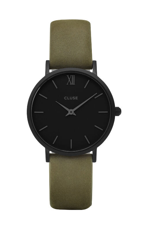 Montre CLUSE Minuit Full Black/Olive Green CL30007 - PRECIOVS