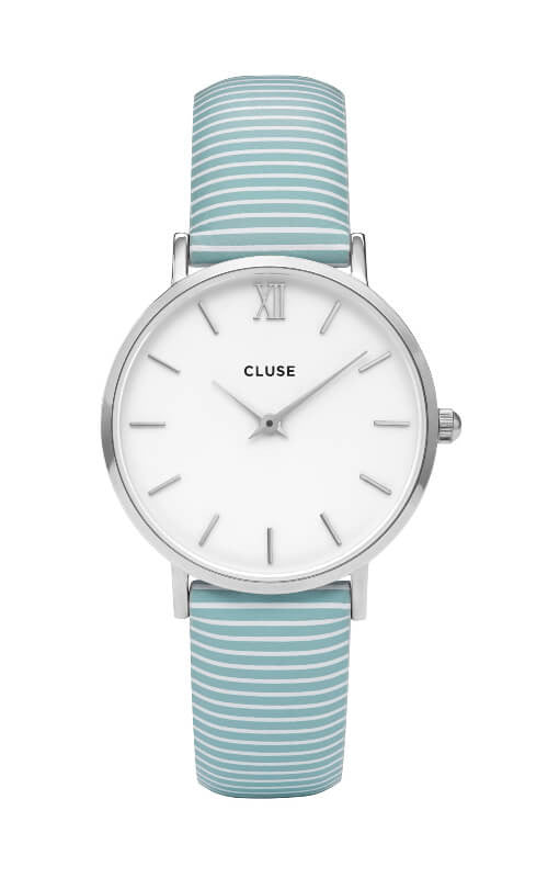 Montre CLUSE Minuit Silver White/Sky Blue Stripes CL30028 - PRECIOVS