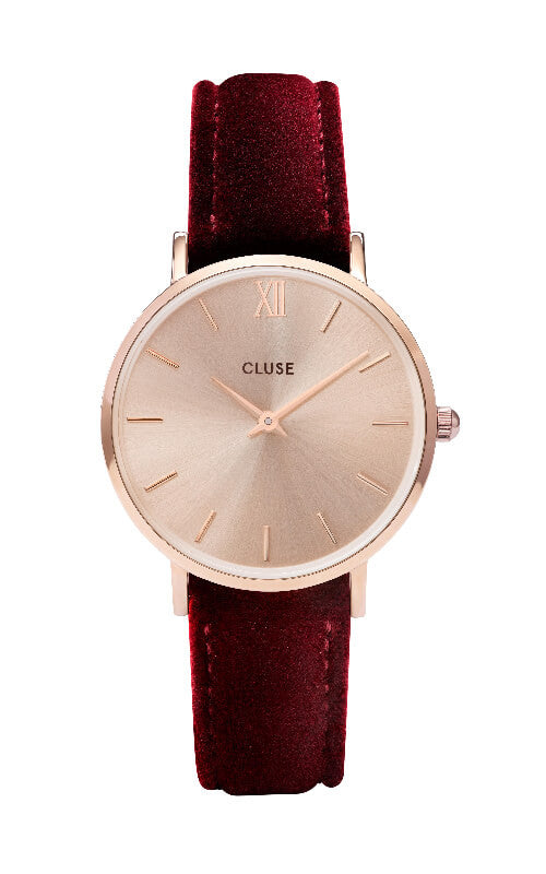 Montre CLUSE Minuit Rose Gold Red Velvet CL30042 - PRECIOVS