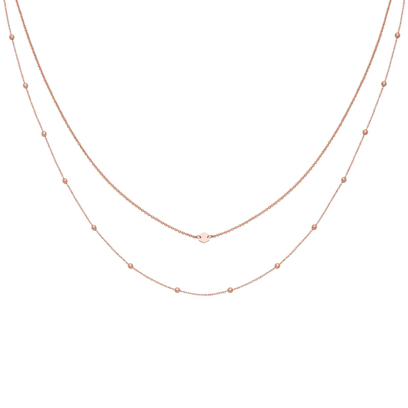Ensemble de colliers CLUSE Rose Gold Double Chain Petite Hexagon CLJ20004 - PRECIOVS