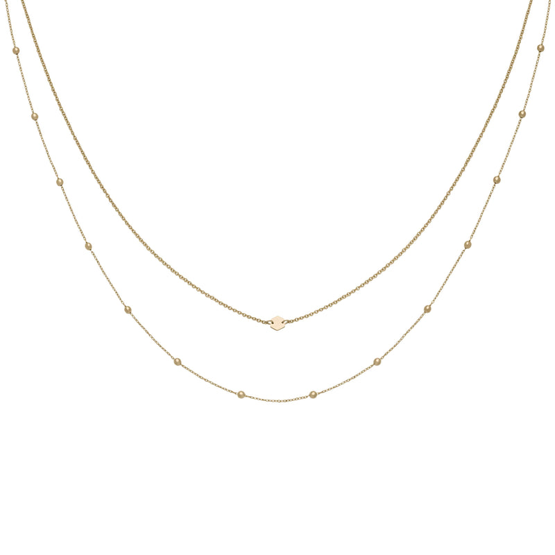 Ensemble de colliers CLUSE Gold Double Chain Petite Hexagon CLJ21004 - PRECIOVS