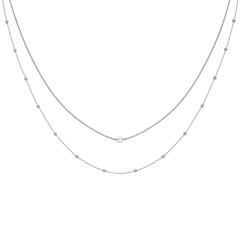 Ensemble de colliers CLUSE Silver Double Chain Petite Hexagon CLJ22004 - PRECIOVS