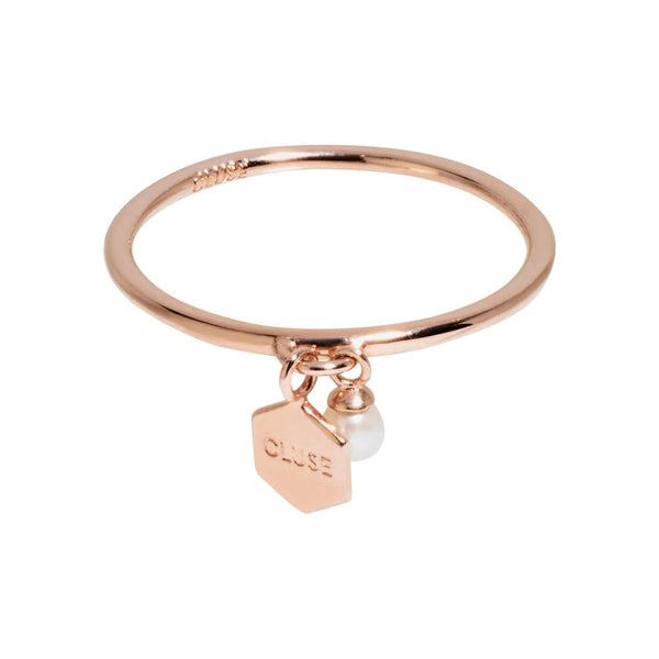 Bague CLUSE Essentielle Rose Gold Hexagon and Pearl Charm CLJ40007 - PRECIOVS