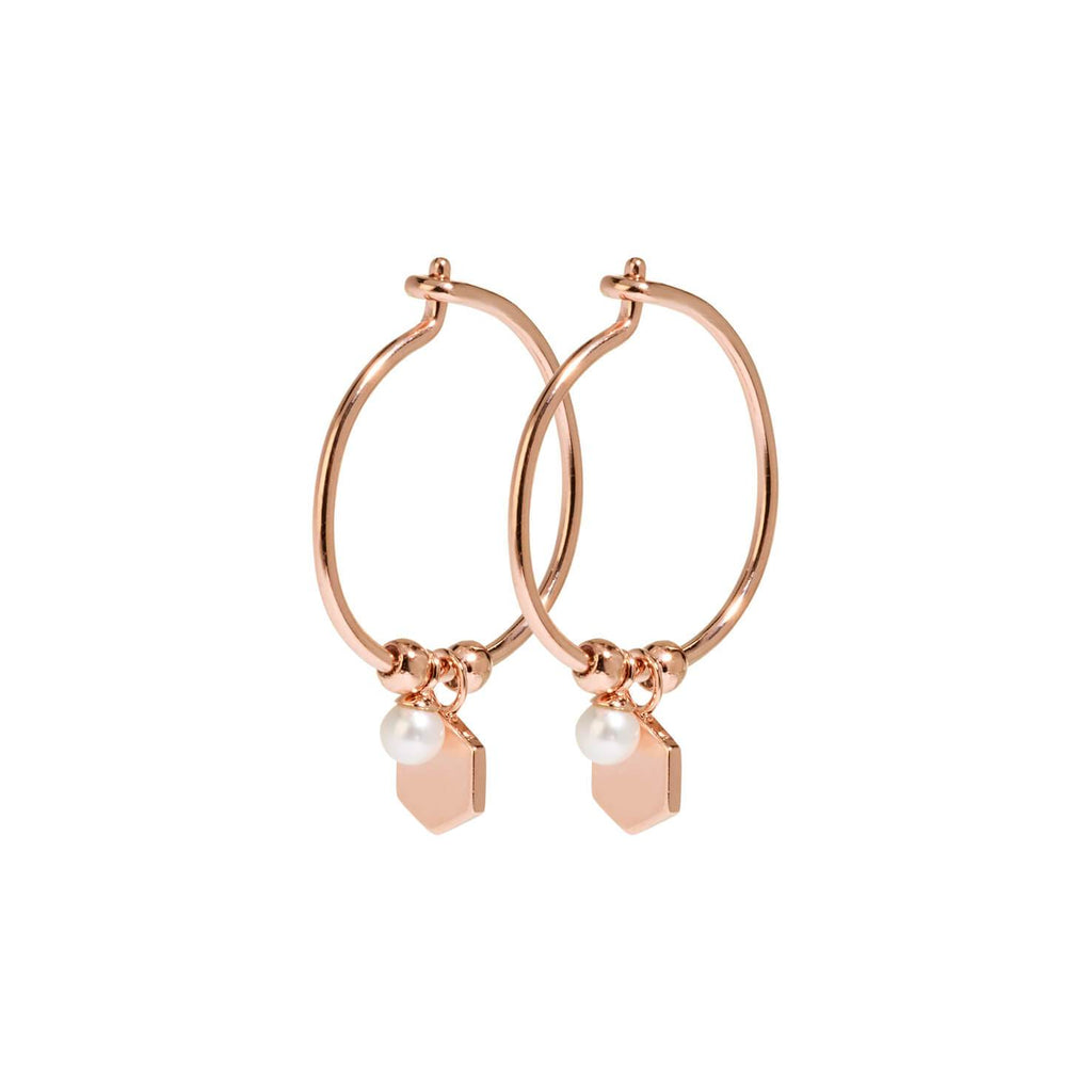 Boucles d'oreilles CLUSE Essentielle Rose Gold Hexagon and Pearl Charm Hoop CLJ50002
