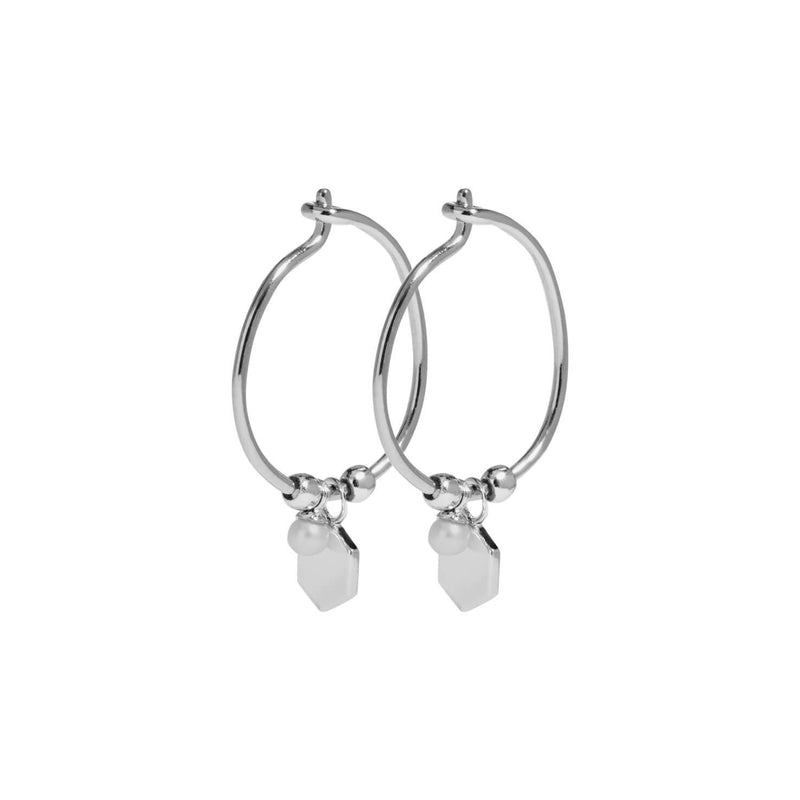 Boucles d'oreilles CLUSE Essentielle Silver Hexagon and Pearl Charm Hoop CLJ52002 - PRECIOVS