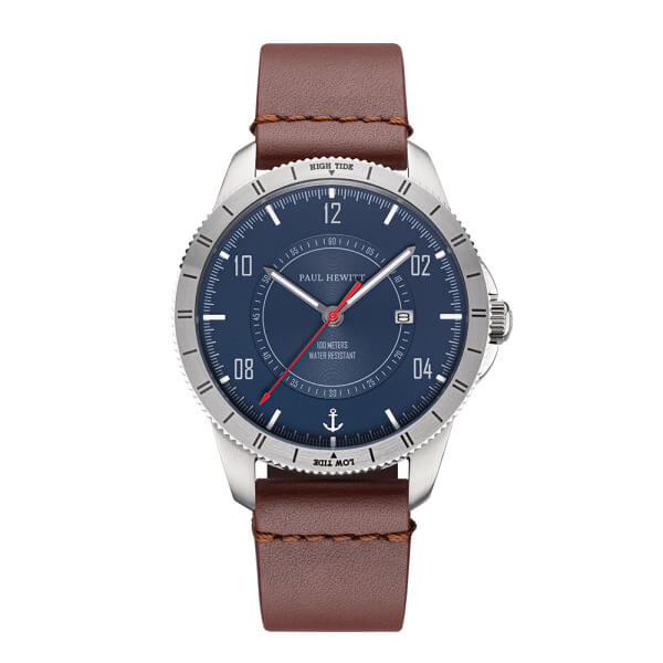 Montre Paul Hewitt Tide Runner Navy Blue Rot Silber Leder Mid Brown - PRECIOVS