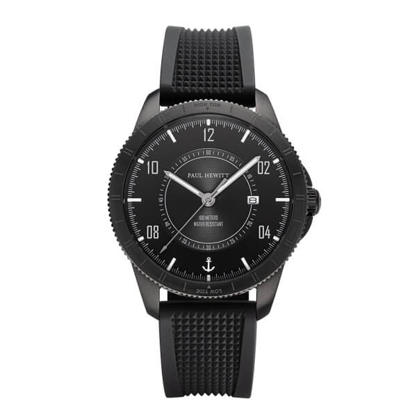 Montre Paul Hewitt Tide Runner Pure Black Gun Metal Rubber Schwarz - PRECIOVS