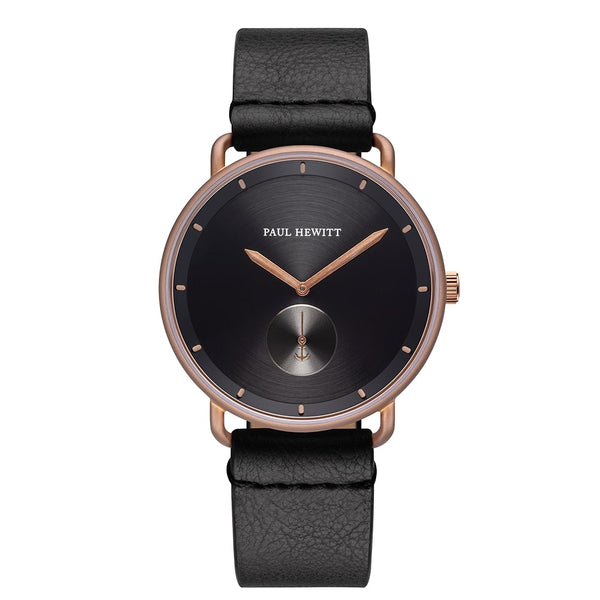 Montre Paul Hewitt Breakwater Line Black Sunray IP Bronze Bracelet Cuir Pure Black - PRECIOVS