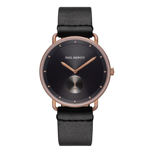 Montre Paul Hewitt Breakwater Line Black Sunray IP Bronze Bracelet Cuir Pure Black