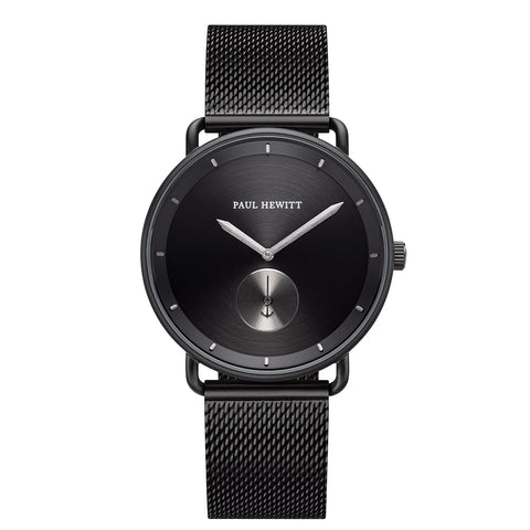 Montre Paul Hewitt Breakwater Line Black Sunray IP Noir/Gun Metal Bande Mesh IP Noir