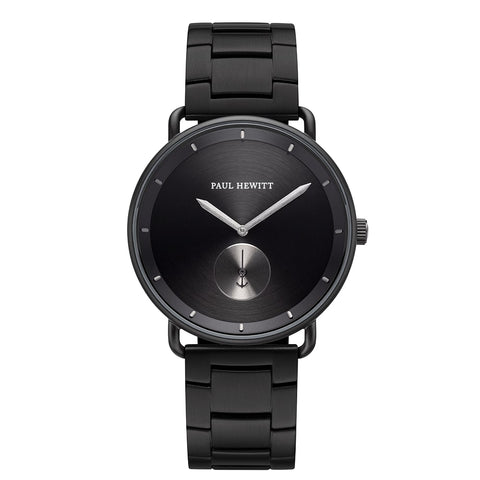 Montre Paul Hewitt Breakwater Line Black Sunray IP Noir/Gun Metal Bande Métallique