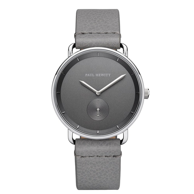 Montre Paul Hewitt Breakwater Line Iron Grey Acier Inoxydable Bracelet Cuir Light Grey - PRECIOVS