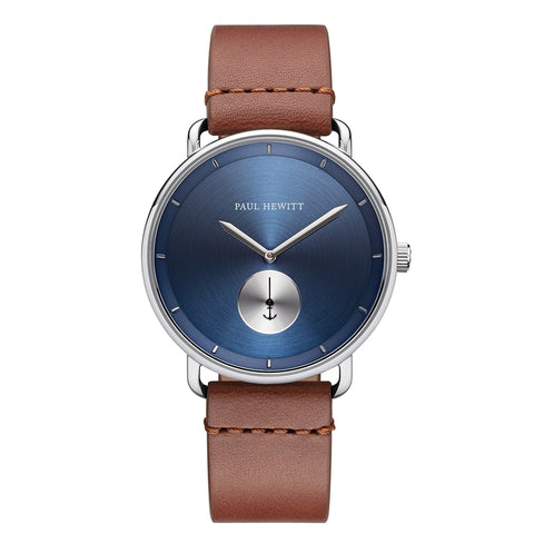 Montre Paul Hewitt Breakwater Line Navy Sunray Acier Inoxydable Bracelet Cuir Mid Brown