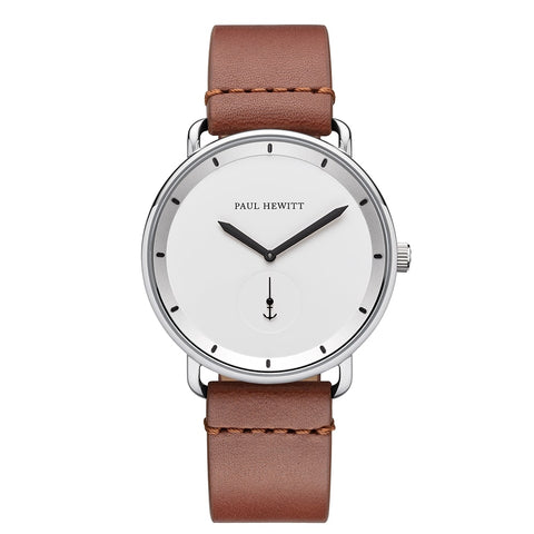 Montre Paul Hewitt Breakwater Line White Acier Inoxydable Bracelet Cuir Mid Brown