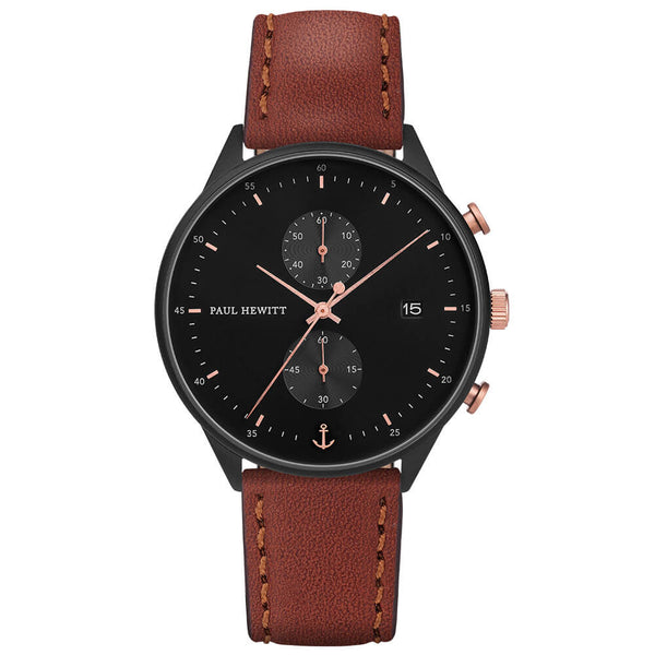 Montre Paul Hewitt Chrono Line Black Sunray IP Noir/Or Rosé Bracelet Cuir Marron - PRECIOVS