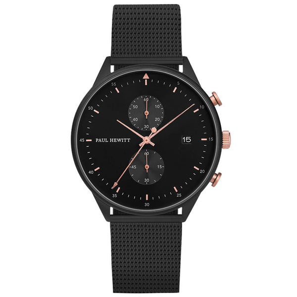 Montre Paul Hewitt Chrono Line Black Sunray IP Noir/Or Rosé Bande Métallique Noir - PRECIOVS