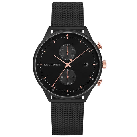 Montre Paul Hewitt Chrono Line Black Sunray IP Noir/Or Rosé Bande Métallique Noir