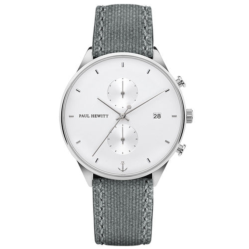 Montre Paul Hewitt Chrono Line White Sand Acier Inoxydable Canvas Gris - PRECIOVS