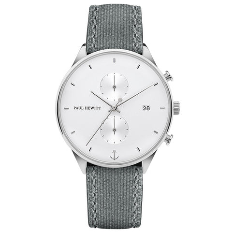 Montre Paul Hewitt Chrono Line White Sand Acier Inoxydable Canvas Gris