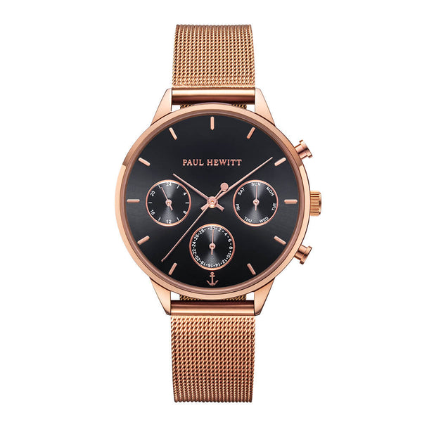 Montre Paul Hewitt Everpulse Black Sunray Or Rose Mesh - PRECIOVS