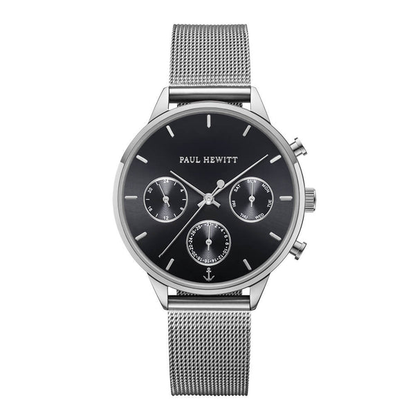 Montre Paul Hewitt Everpulse Black Sunray Argenté Mesh - PRECIOVS