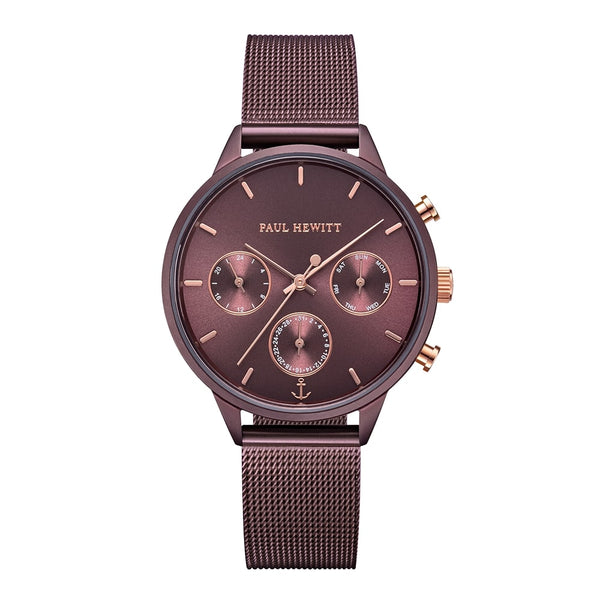 Montre Paul Hewitt Everpulse Line Dark Mauve Sunray IP Dark Mauve Bande Mesh - PRECIOVS