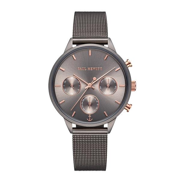 Montre Paul Hewitt Everpulse Line Grey Metallic Sunray IP Grey Metallic Bande Mesh - PRECIOVS