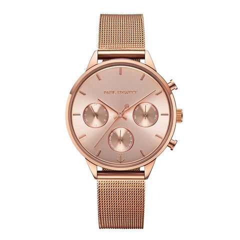 Montre Paul Hewitt Everpulse Line Rose Sunray IP Or Rosé Bande Mesh IP Or Rosé