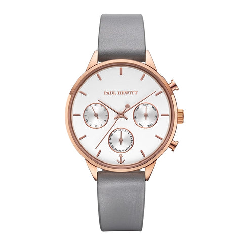 Montre Paul Hewitt Everpulse Line White Sand IP Or Rosé Bracelet Cuir Graphite