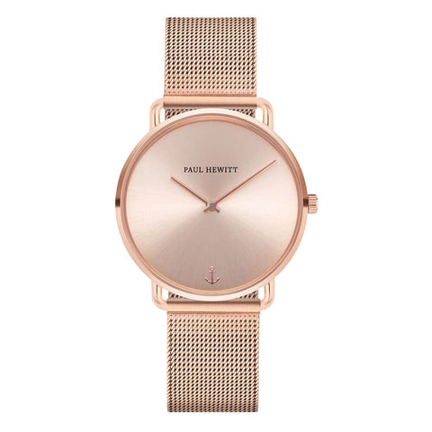 Montre Paul Hewitt Miss Ocean Line Rose Sunray IP Or Rosé Bande Mesh IP Or Rosé