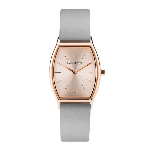 Montre Paul Hewitt Modern Edge Line Rose Sunray IP Or Rosé Bracelet Cuir Graphite - PRECIOVS