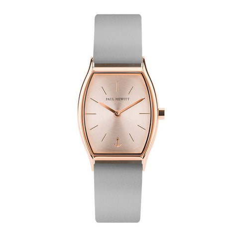 Montre Paul Hewitt Modern Edge Line Rose Sunray IP Or Rosé Bracelet Cuir Graphite