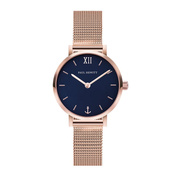 Montre Sailor Line Modest Blue Lagoon Or Rosé Bande Mesh - PRECIOVS
