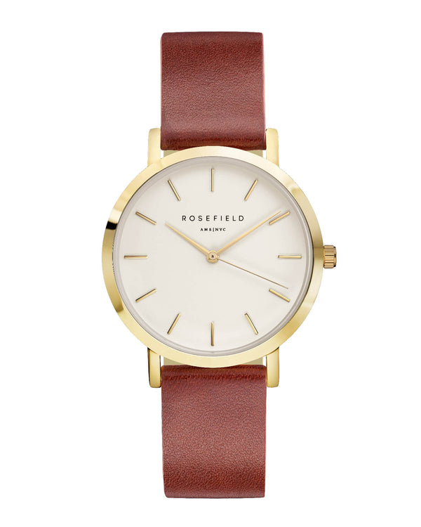 Montre Rosefield The GRAMERCY White Brown Gold GWBRG-G34 - PRECIOVS