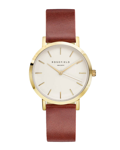 Montre Rosefield The GRAMERCY White Brown Gold GWBRG-G34