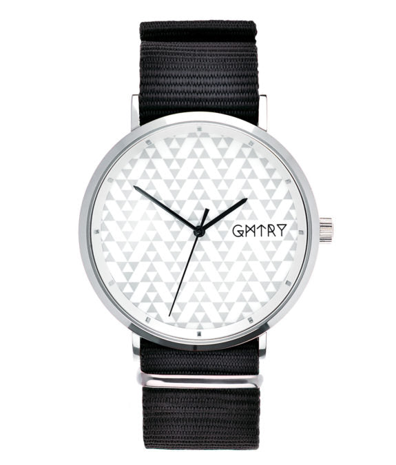 Montre GMTRY The Polygon Series White Noir (+2ème bracelet au choix) - PRECIOVS