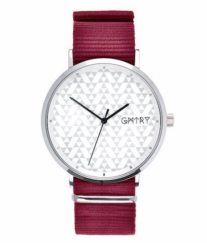 Montre GMTRY The Polygon Series White Bordeaux (+2ème bracelet au choix) - PRECIOVS