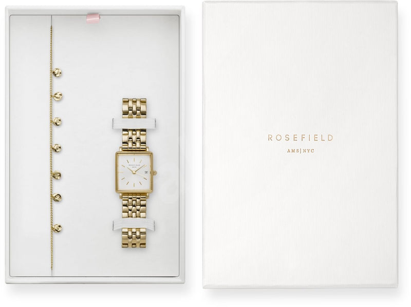 Coffret Rosefield THE BOXY XS Blanc Sunday or Jaune + bracelet Multi Liquid Or Jaune X241 - PRECIOVS