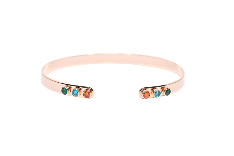Bracelet Jonc MYA BAY Stone Open mind, 6 pierres, vert, turquoise, orange MS-08.P - PRECIOVS