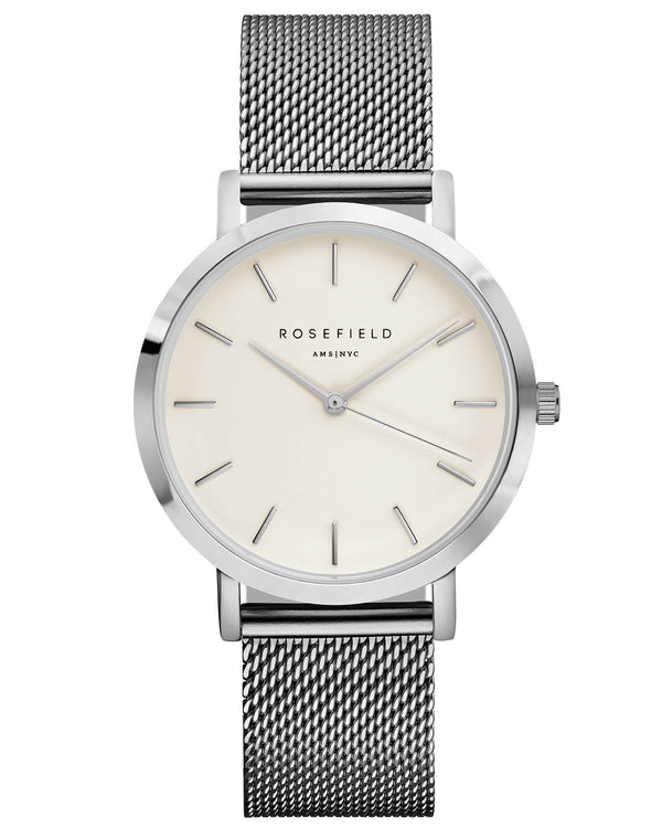 Montre Rosefield The MERCER White Silver MWS-M40 - PRECIOVS