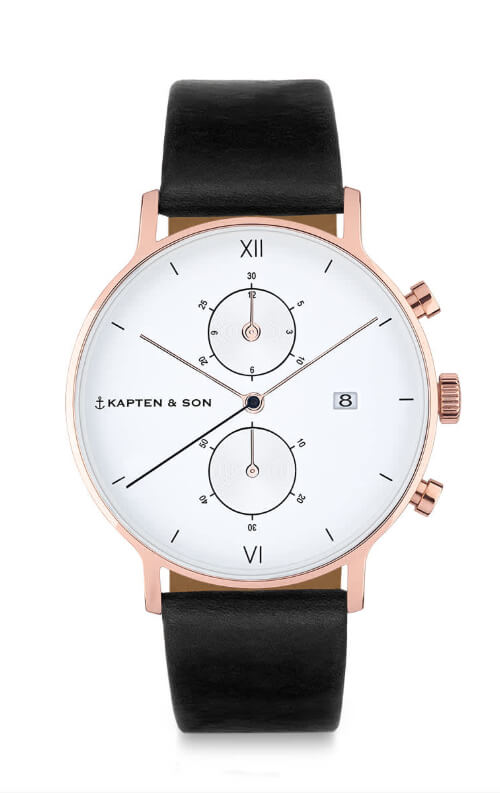 Montre Kapten & Son Chrono Black Leather - PRECIOVS