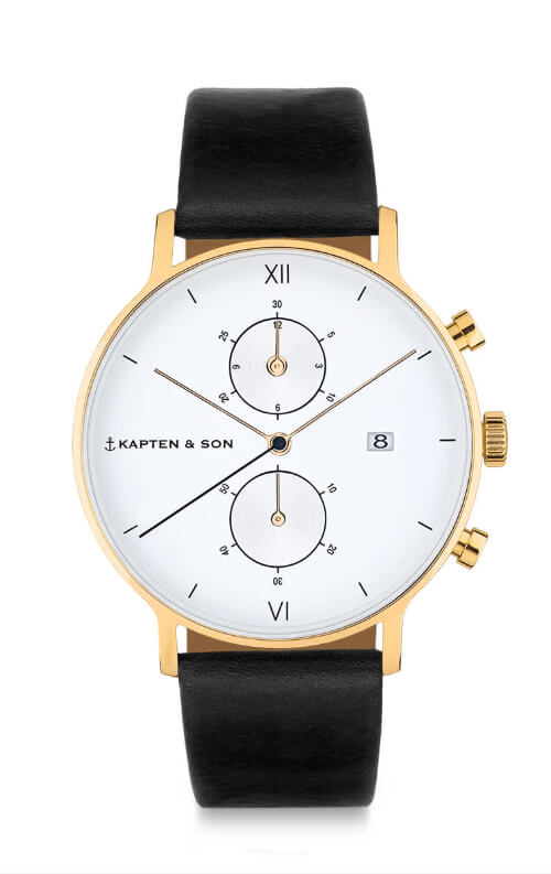 Montre Kapten & Son Chrono Gold Black Leather - PRECIOVS