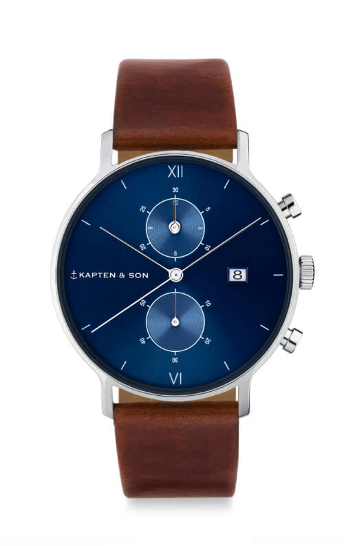 Montre Kapten & Son Chrono Silver Blue Brown Leather - PRECIOVS