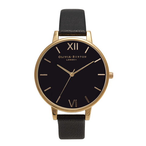 Montre Olivia Burton Big Dial Black Dial & Gold
