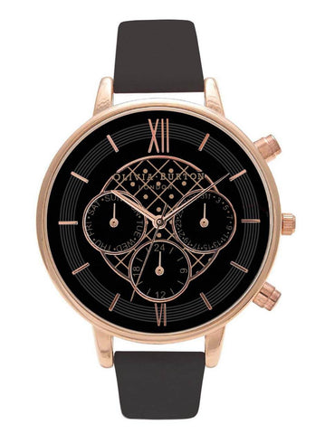 Montre Olivia Burton Chrono Detail Black Dial & Rose Gold