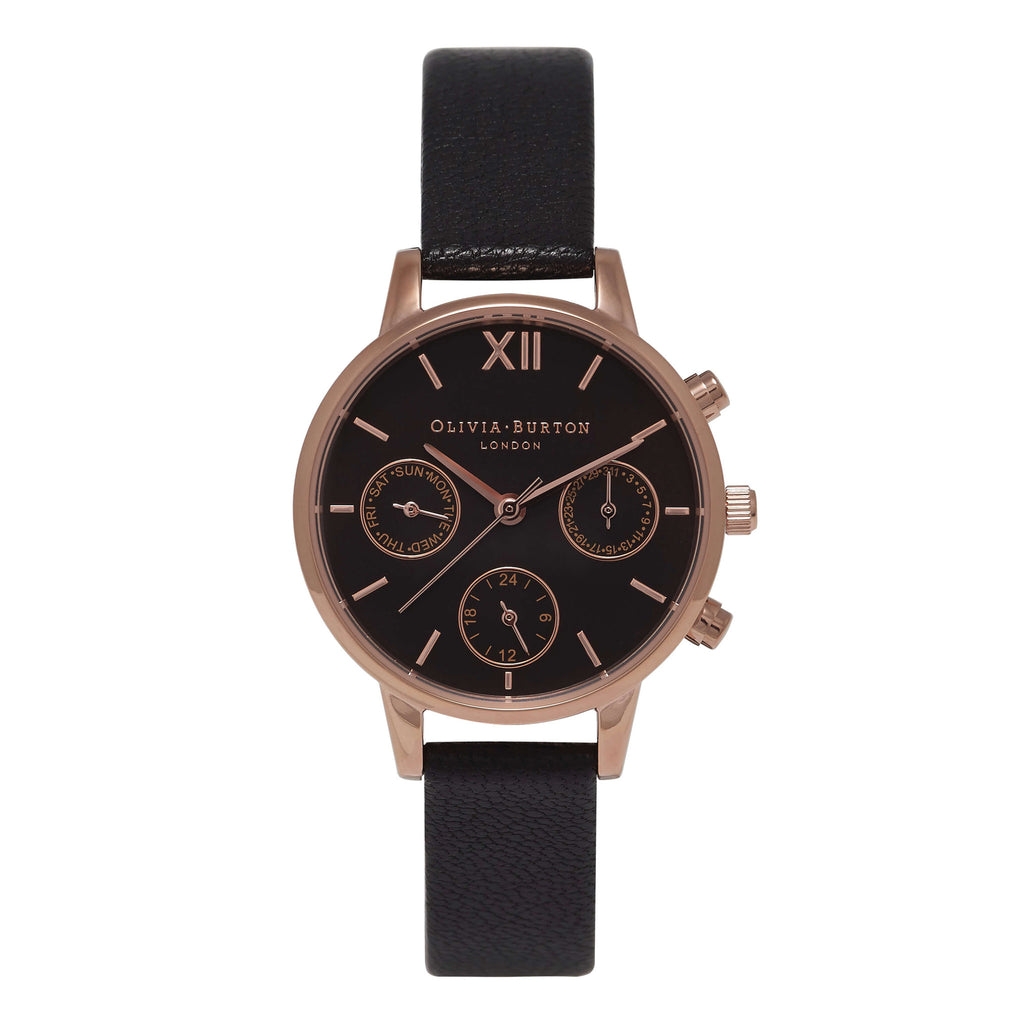Montre Olivia Burton Midi Dial Chrono Black Dial & Rose Gold
