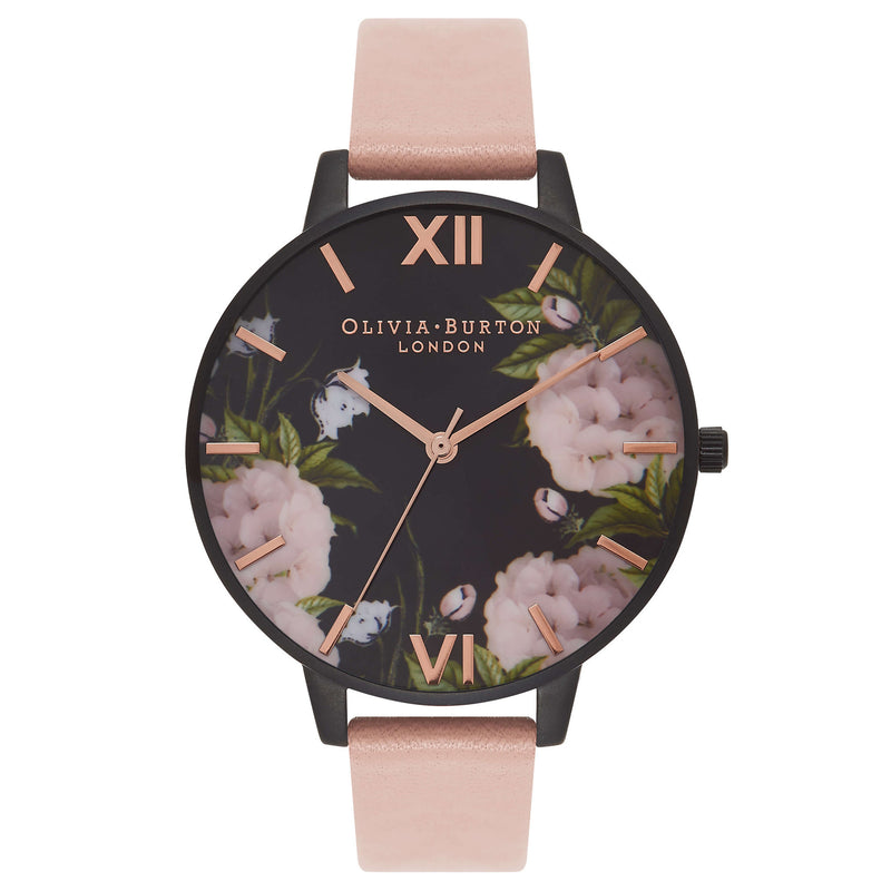 Montre Olivia Burton Big Dial After Dark IP Black Dusty Pink Floral - PRECIOVS
