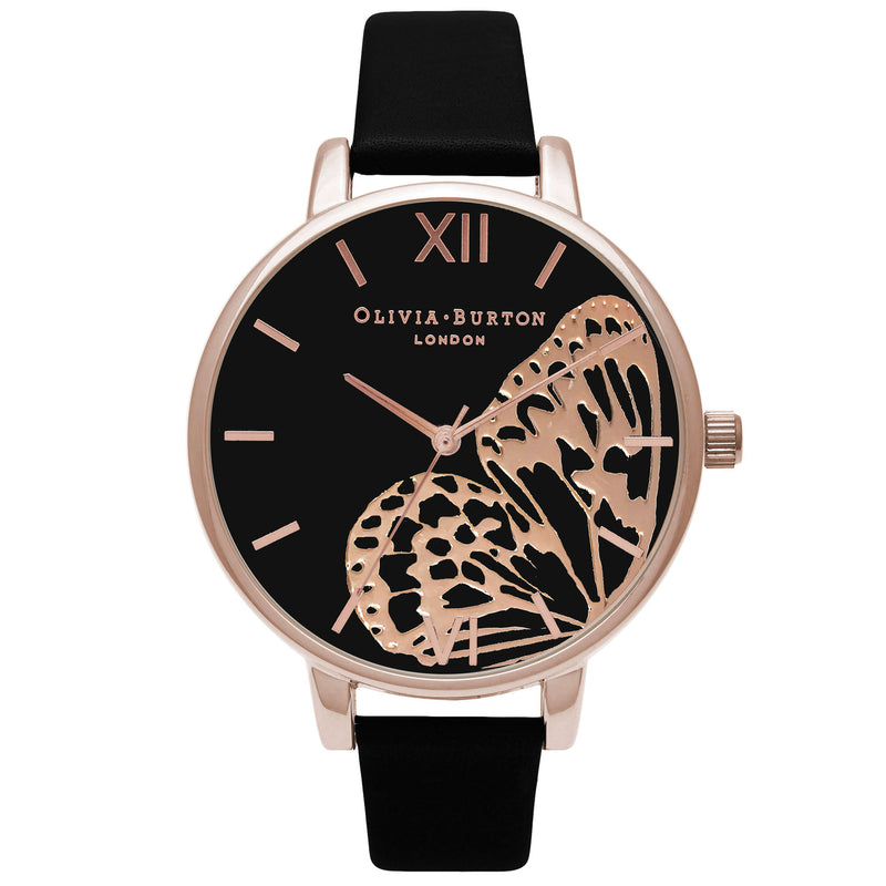 Montre Olivia Burton Big Dial Applied Wing Black & Rose Gold - PRECIOVS