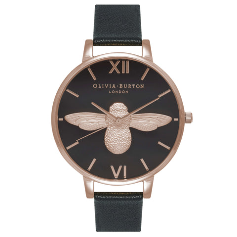 Montre Olivia Burton Big Dial Animal Motif Black Dial Moulded Bee & Rose Gold