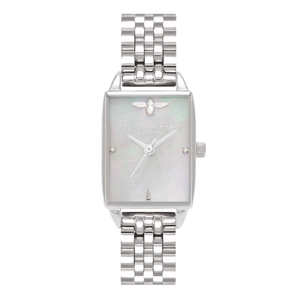 Montre Olivia Burton Bee Hive Grey Mother of Pearl Bracelet, Silver OB16BH03 - PRECIOVS